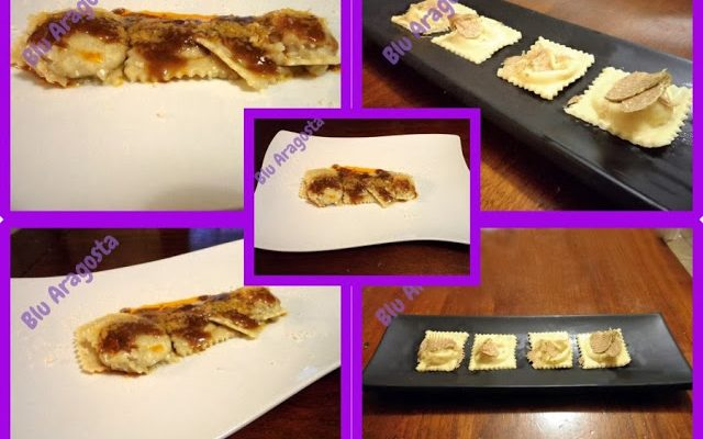 Ravioli ripieni ai cardi in due modi: con sugo di costine e con burro e tartufo bianco