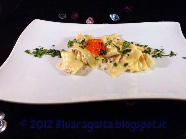 Lasagnette alla crema di aringa affumicata e caviale di salmone