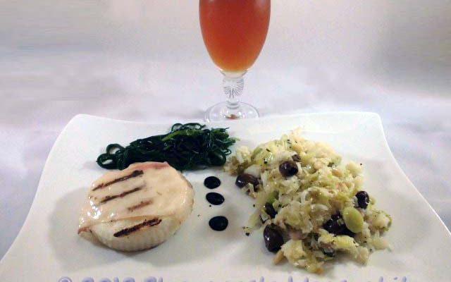 Pasticcio di baccalà con agretti, polenta bianca e lardo d'Arnad