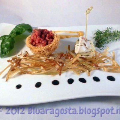 tartare con tartufi e taleggio marinato