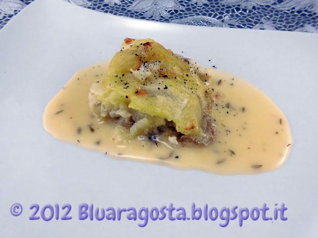 Millefoglie di coda di rospo e patate con salsa al limone e timo