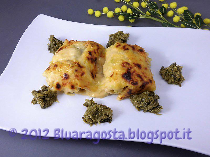 Roll di lasagne ricce e cime di rapa con crema di porri e cheddar