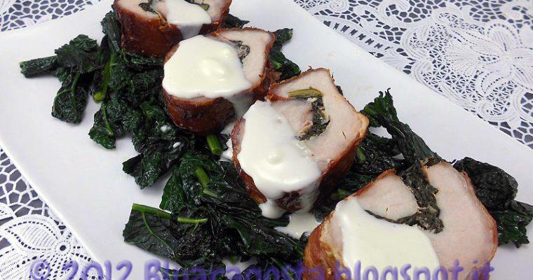 Maki di lonza di maiale con cavolo nero e fonduta di taleggio