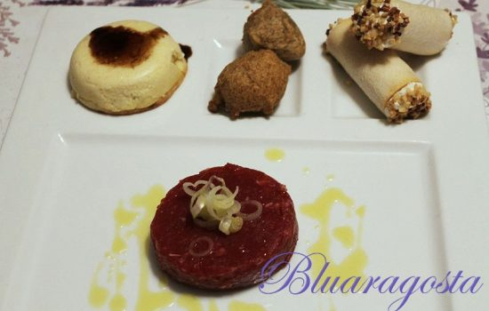 Tartare di carne piemontese con trilogia di formaggi