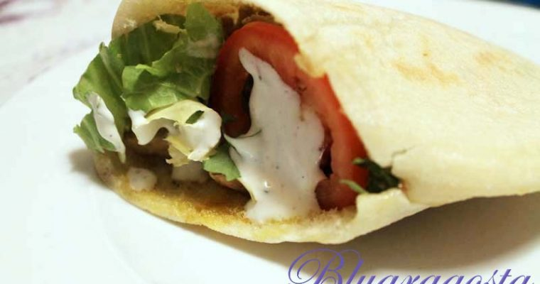 Kebab con carni miste e salsa di yogurt. E pane arabo homemade.